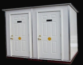 ADA compliant, two stall, ceramic fixtures, ground level, portable, lavatory building,