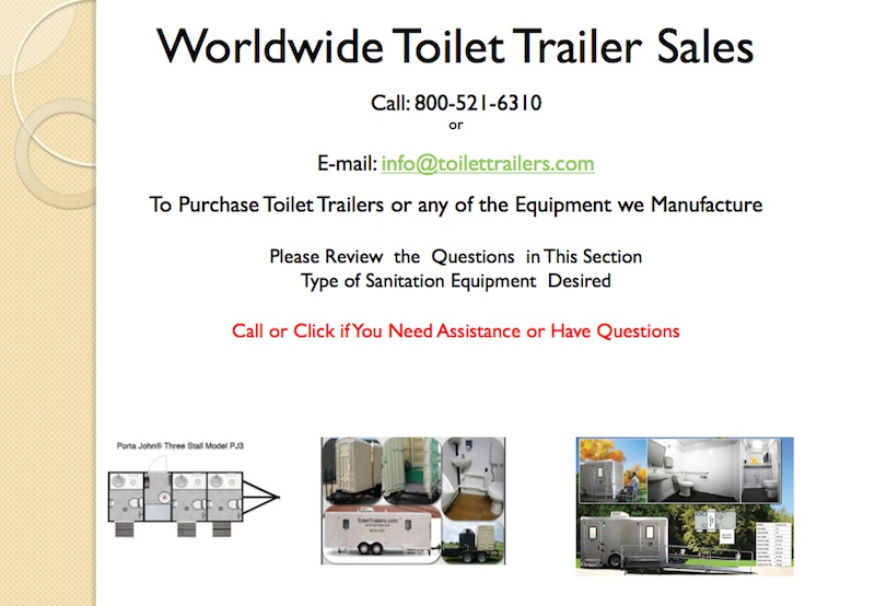 Worldwide Toilet Trailer Sales