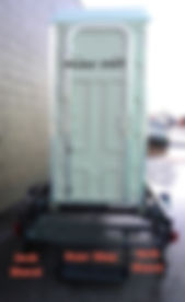trailer, single, portable, toilet, comfort station, Model 350T, jack stand, rear step