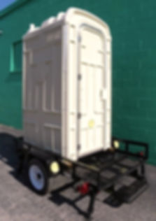 trailer mounted toilet, dump valve, DOT compliant Trailer, 4 jack stands