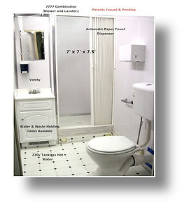 7777, combination, toilet, shower, lavatory, building, automatic, paper towel,dispenser, vanity, mirror, water, waste, tank, heater, patent