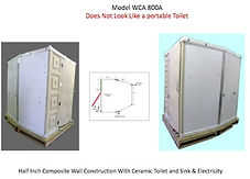 model, WCACS 800A, wheelchair accessible, comfort station, half inch, wall, construction, ceramic, toilet, sink, electricity,