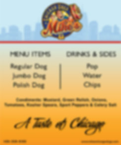 Mike's Chicago Dogs Menu