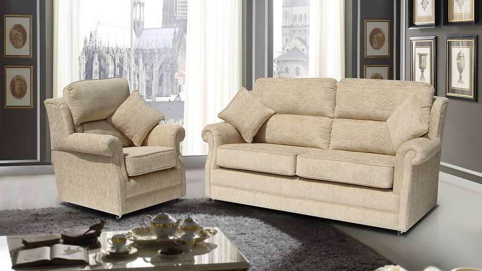 William Ross Fabric suite shown in brown with a real wood frame
