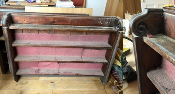 Bookcase with curly ends (From St Mary's)