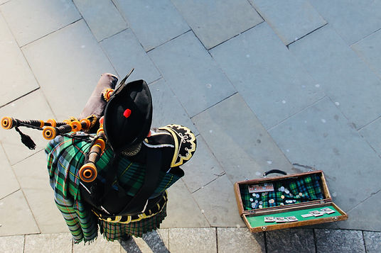 Scottish Bagpiper from Above in Kilt and