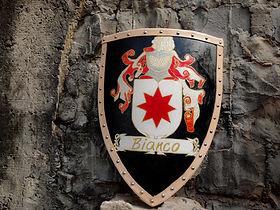Escudo feito para decorar as paredes da casa de seu dono. Possui soleta bovina na borda e foi pintado com o brasão da Família Bianco.