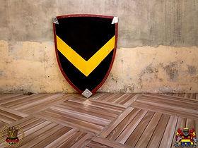 Escudo feito para ser usado nos treinos de esgrima histórica e de combate medieval. Possui 11 mm de espessura, borda revestida por couro e algodão cru em ambas as faces.