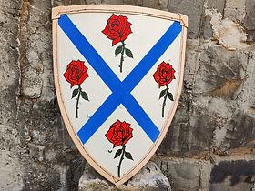 Escudo feito para ser usado nos treinos de esgrima histórica ou de combate medieval. Possui 11mm de espessura, algodão cru em ambas as faces e borda revestida por couro bovino.