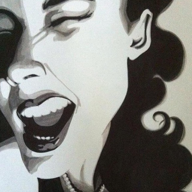 An old favourite #art #draw #drawing #drawingwomen #selfportrait #pinup #smile #wink #teeth #lips #m