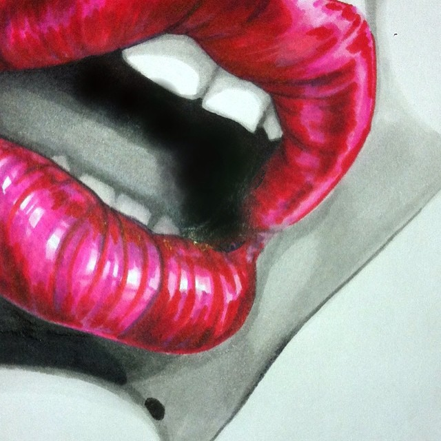 #art#lhdart #lifedrawing #lips #draw #drawing #drawings #mouth #textas #markers #red #pink #sketch #
