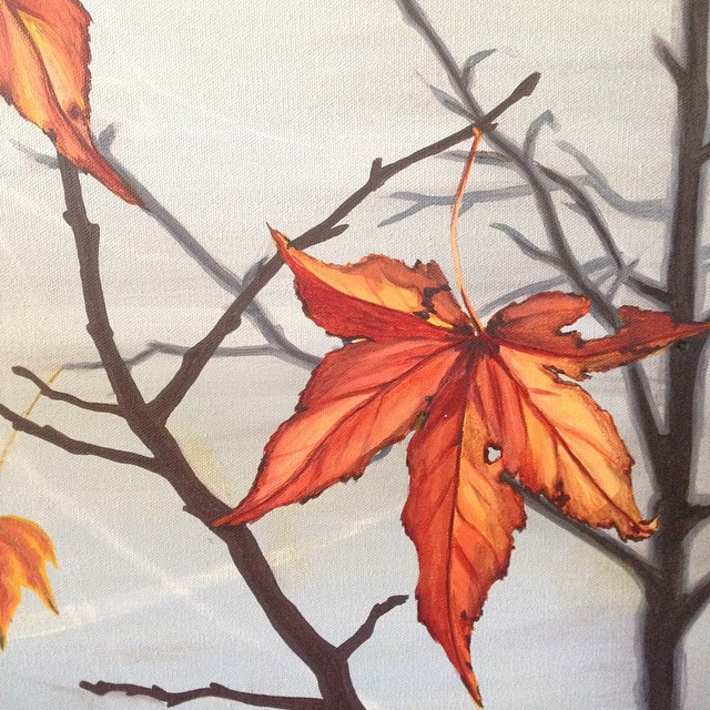 #art #lhdart #paint #painting #acrylic #nature #leaf #leaves #autumn #fall #branch #tree #grey #oran