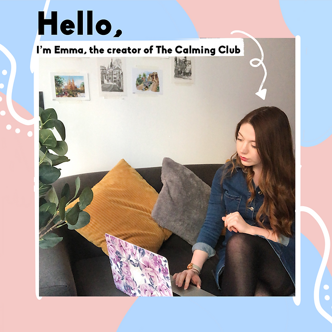 Founder of The Calming Club Emma, working on her laptop