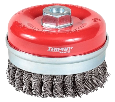 Taipan Cup Brush Twist-Knot with Skirt 100mm M14x2 Mild Steel