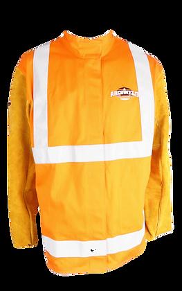 ARCOSAFE HI-VIS Orange Welding Jacket with Leather Sleeves