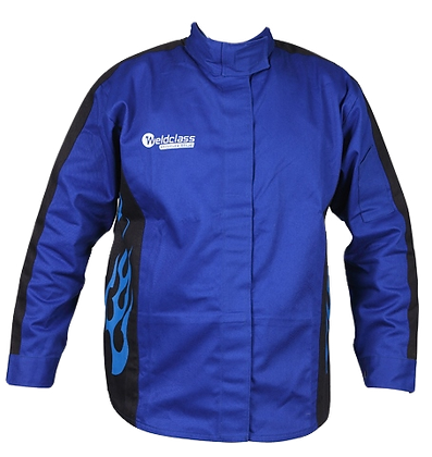 Weldclass Flame Resistant Cotton Jacket w/ Blue Flame Graphic