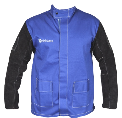 Weldclass Jacket Flame Resistant Cotton Body w/ Leather Sleeves