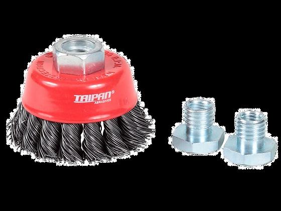 Taipan Cup Brush Twist-Knot with Skirt 65mm Multi-Thread Mild Steel
