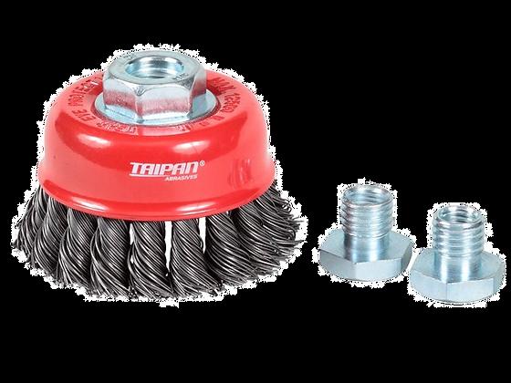 Taipan Cup Brush Twist-Knot Standard 75mm Multi-Thread Mild Steel