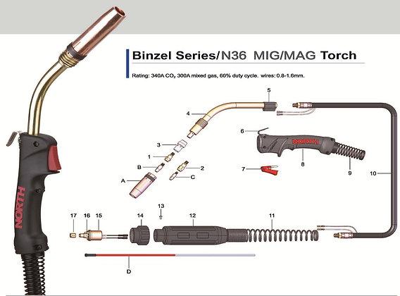 North Binzel Style 360amp MIG Torch (Euro)