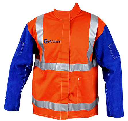 Weldclass FR Hi-Vis Jacket w/ Leather Sleeves & Harness Flap