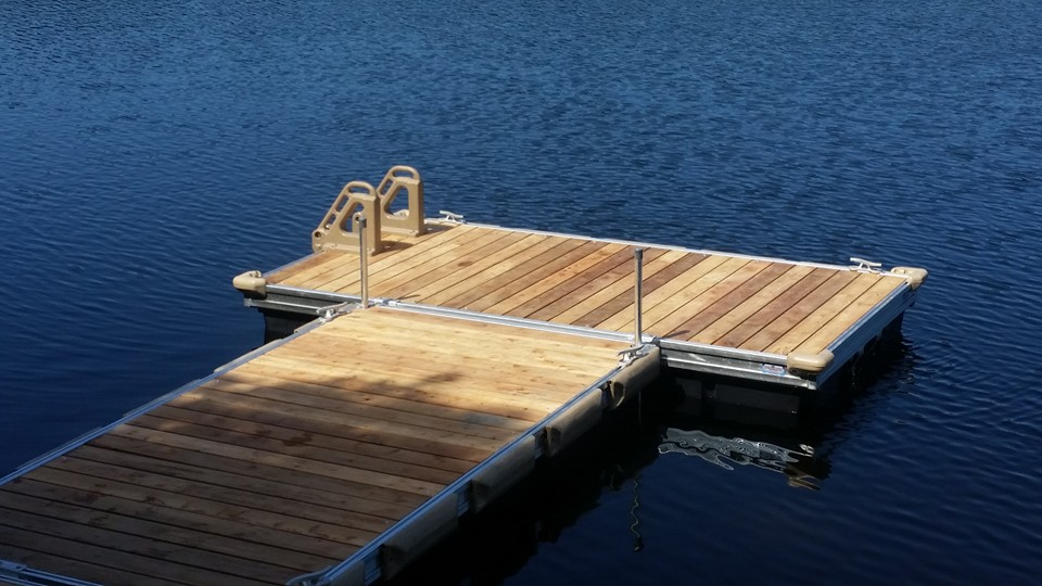Cedar floating dock with ladder