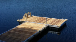 Cedar floating dock with ladder