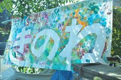 園児たちが塗った保育園フラッグ
