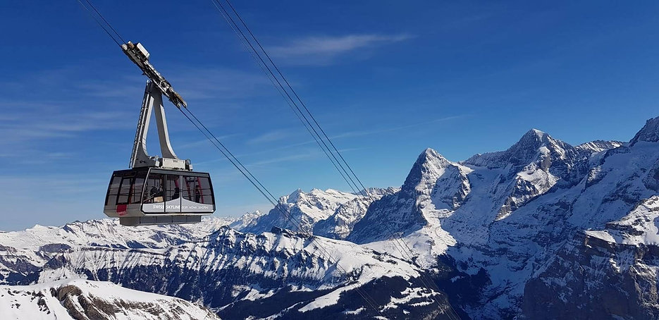 The cable car to Birg and the Schilthorn
