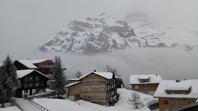 Beautiful alpine carfree village Murren Switzerland