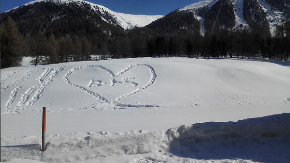 Love hearts in the snow