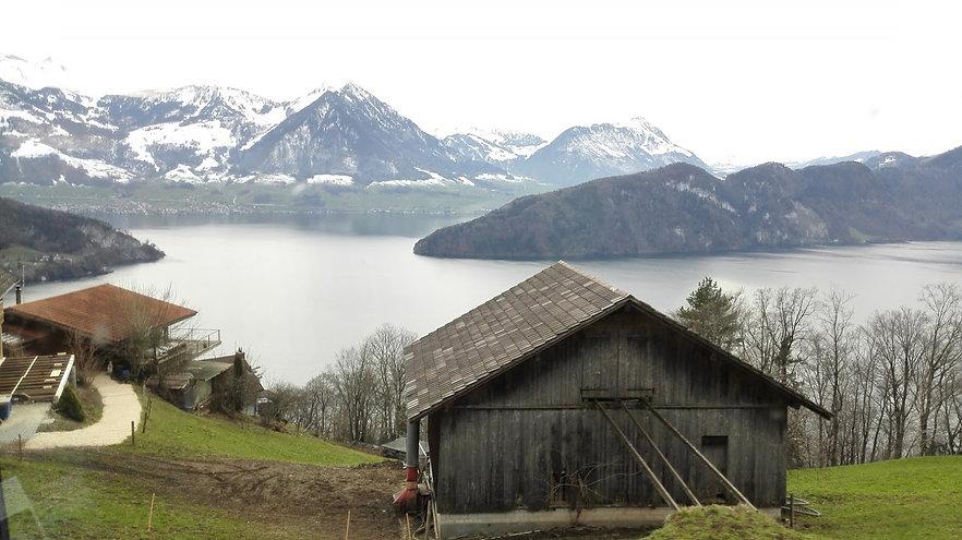 Views over Lake Lucerne from the cogwheel train-Mount Rigi