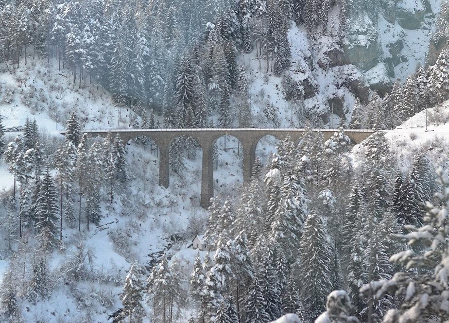 Landwasser Viaduct Glacier Express in Winter