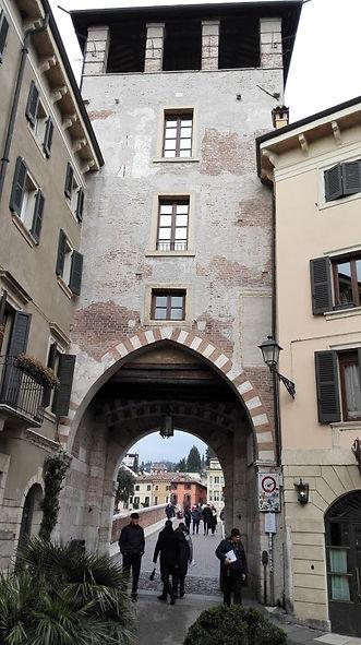 Travel Verona, Italy. Medieval buildings and bridges in Verona.