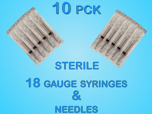 10 Pack of Sterile 18 Gauge Syringes and Needles