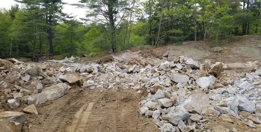 This is what it looks like after blasting, lots of rubble! 05/30/2019