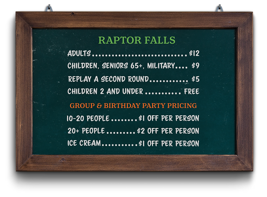 Raptor Falls Mini Golf & Ice Cream general and group pricing