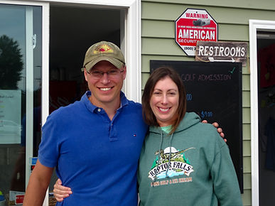 Raptor Falls Owners standing in front of storefront named Bree and Cliff