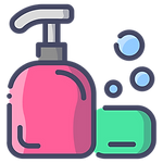 Liquid soap and a soap bar icon