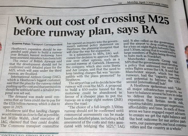 Even BA suggests the cost of crossing the M25 should be worked out before runway plan