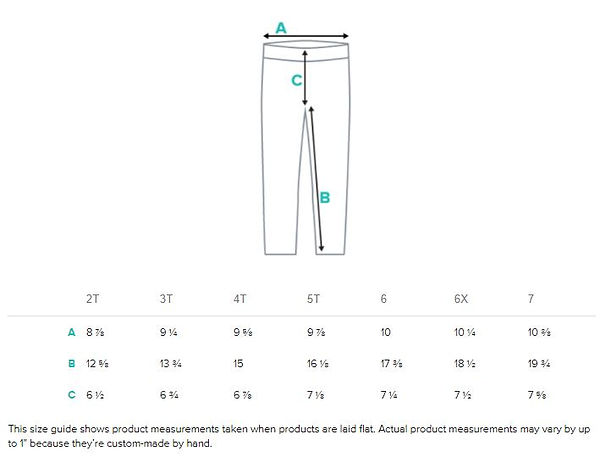 size guide measurements for kids all ove