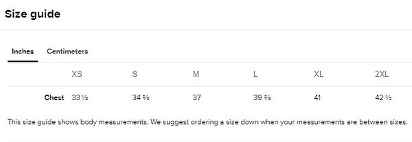 Size guide Womens all over print tank to