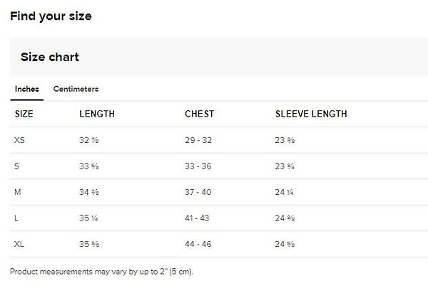 size guide 2 measurements for ladies hoo