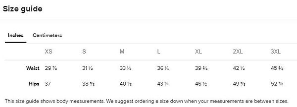 Size guide Men's Athletic shorts inches.