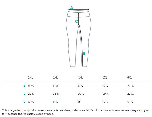 size guide measurements for ladies yoga