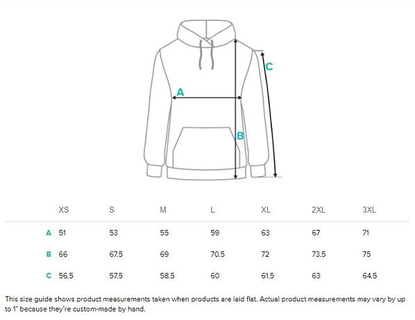 Size guide measurement Unisex all over p