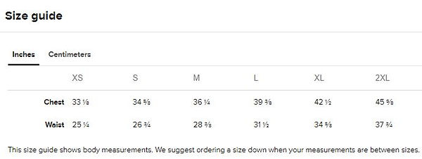 size guide measurements for ladies all o
