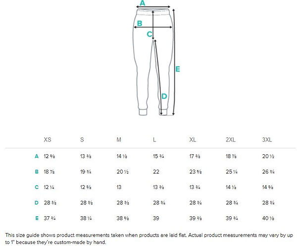Size guide measurements Men's all over p