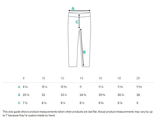 size guide measurements for youth all ov