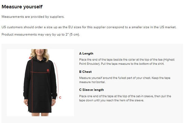 size guide measurements for ladies hoodi